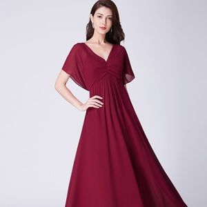 Long Modest V Neck Evening Dress